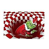 Decoración de jardín Navidad, Ilusión de Navidad Dormitorio 3D Visual Trap Alfombra Decoración Alfombra para Sala de Estar Rojo 80x120cm