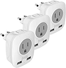 European Plug Adapter, Foval European Adapter Outlets with 2 USB 4 in 1 US to Europe Travel Plug Adapter for France, Germany, Iceland, Spain, Italy and More (3 Pack Type C)