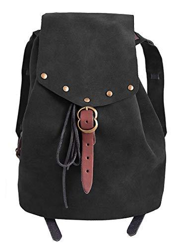 Andracor – hochwertiger und geräumiger Vintage Wanderrucksack aus echtem Leder – ideal für LARP, Cosplay, Fantasy und Weltenbummler – schwarz mit braunen Riemen