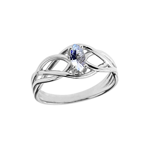 Exquisite Sterling Silver March Birthstone Celtic Knot Engagement/Promise Ring (Size 10)