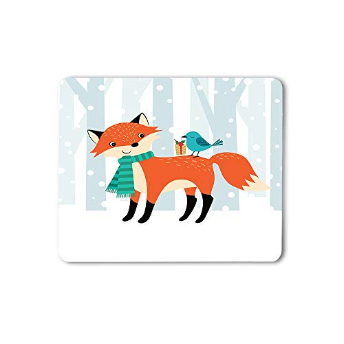 Moslion Bird Standing On The Back of Fox Mouse Pad Lovely Animal Winter Snow Forest Gift Gaming Mouse Mat Non-Slip Rubber Base Thick Mousepad for Laptop Computer PC 9.5x7.9 Inch