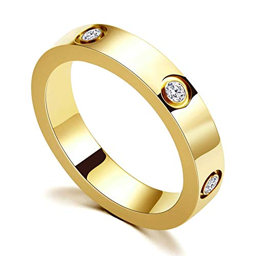 Love Friendship Ring 18K Gold Silver Rose Plated Cubic Zirconia Stainless Steel Promise Ring Wedding Band Jewelry Birthday Gifts for Women Teen Girls