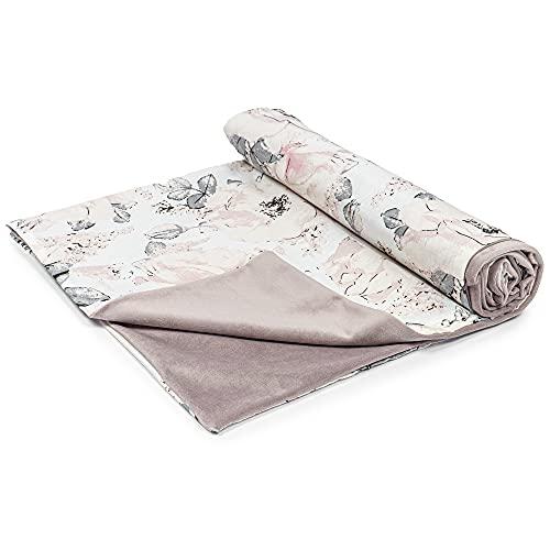 Manta de bebé de Terciopelo de algodón 75x100 - Velvet Mantas de bebé de Verano de Cochecito para niñas y niños Rosa Salvaje y Velvet
