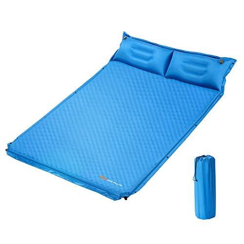 COSTWAY Campingmatte mit Kissen, Isomatte Selbstaufblasend, Camping Matratze Schlafmatte 2 Personen für Camping, Wandern, Strand, Reisen 186x130x4cm