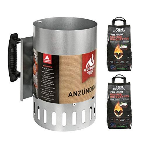 FEUERGOTT KS3480 Anzündkamin Premium BIG XXL + TOM COCO Grill-Kokoskohlebriketts 2er-Pack (6 kg)