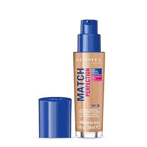 Rimmel London Match Perfection Foundation, Fondotinta Liquido a Pelle Ottima e Levigata con SPF 20, Natural Beige, 30 ml