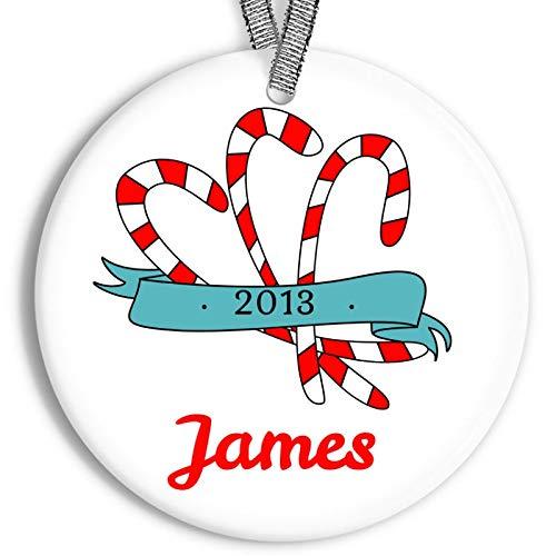 C-US-lmf379581 Décoration de Noël Personnalisable en Porcelaine et céramique Motif Canne à Sucre