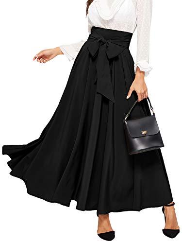 SweatyRocks Women's Elegant High Waist Skirt Tie Front Pleated Maxi Skirts Black L