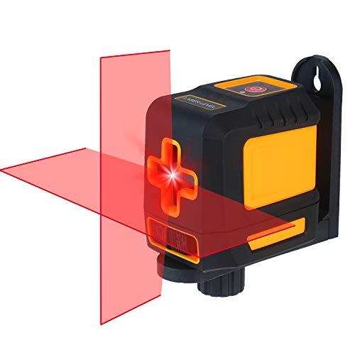 Romacci Nível de laser Autonivelador de linha cruzada horizontal e vertical profissional Auto-nivelamento Nível de bolha de auto-nivelamento cruzado Linhas de laser Brilho ajustável Feixe vermelho T03