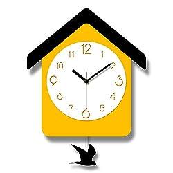 HUIHUI Wall Clock Wood Modern Design Cuckoo Clock Pendulum Yellow Bird Living Room Children's Room Cartoon Horloge Murale Decor for Office/Kitchen/Bedroom/School Decorative