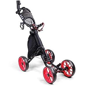 Golftrolley 4 Rad Golfwagen Push Pull Klappbarer Golf Pull Trolley mit Getränkehalter Compact Pull Caddy