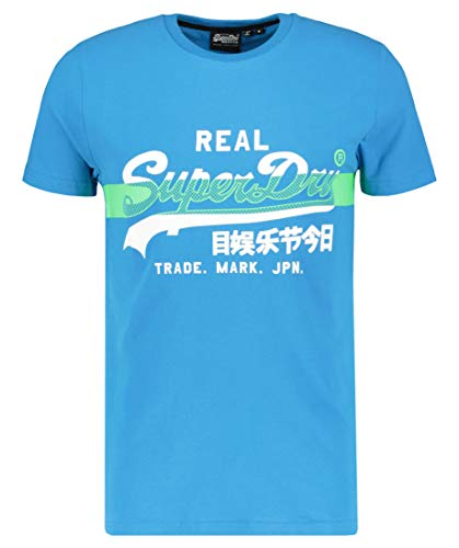 Superdry VL Cross Hatch tee Camiseta, Azul (Electric Blue 89g), L para Hombre