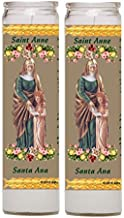 Gifts by Lulee, LLC Saint Anne Patron of Detroit Michigan Mother of Mary and Grandmother of Jesus Prayer to Obtain a Special Favor Set of Two Glass Candles