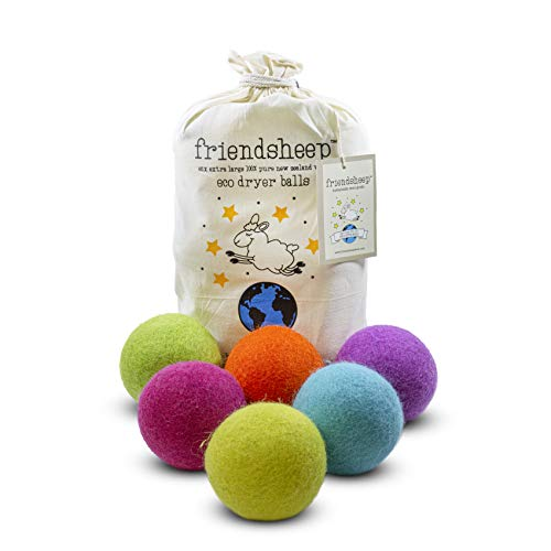 Friendsheep Wool Dryer Balls 6 Pack XL Organic Premium Reusable Cruelty Free Handmade Fair Trade No Lint Fabric Softener Color - Rainbow Blast