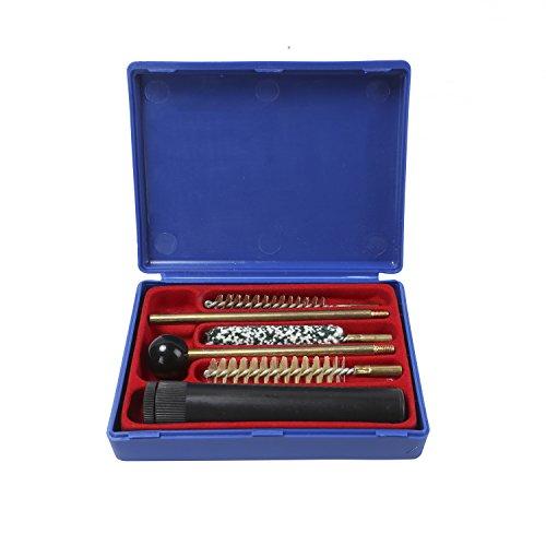 Este kits de limpieza del arma lleva una caja plástica Se adapta para pistolas Cal. 38/357 / 9mm El kit está compuesto por mango, tubo de plástico, barras de latón la extensión, cepillo de lana,---cepillo de cerdas, cepillo de latón Longitud máxima: ...