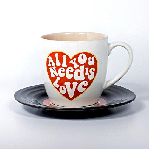 Thumbs Up Tassen-Set Lyrical Mug Love-Lennon & McCartney, Keramik, weiß, 15.78 x 10 x 15.7 cm, 2-Einheiten