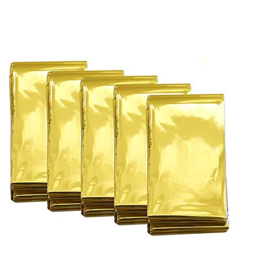 Somine Coperta in Alluminio di Emergenza(Confezione da 5) 210cm x 160cm, Colore: Oro, Design con Fino a 90% del Calore, Impermeabile, Termica Retention