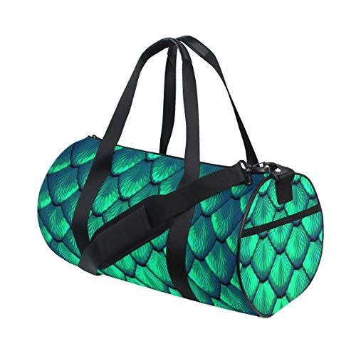 ZOMOY Barrel Bag,Bilance Blu Verde di Sirena o Drago Sfondo 3D,Nuova Borsa Sportiva a Secchiello da Stampa Borse da Fitness Borsa da Viaggio in Tela Bagagli