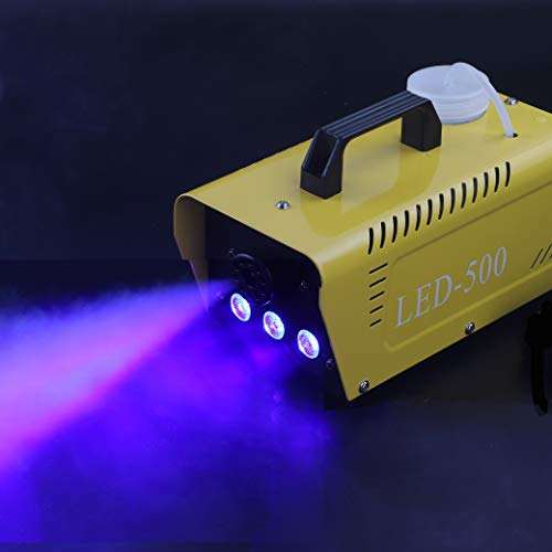UKing 500W Mini Máquina de Humo con LED RGB de 3 Colores, Maquina Niebla Efectos de Luz de Discoteca con Control Remoto para Bodas, Fiestas, Teatros, Bar (Amarillo)