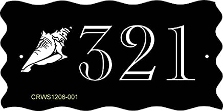 Comfort House Address Sign - Seashell Beach Theme Address Plaque Displays Your House Number - Wave Edges - Choose Your Color CRWS1206