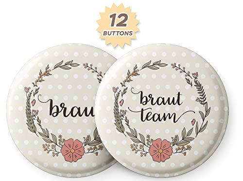 Spielehelden Schöne Vintage JGA Buttons Junggesellinnenabschied – Elegante JGA Accessoires Frauen – 12er Set Buttons