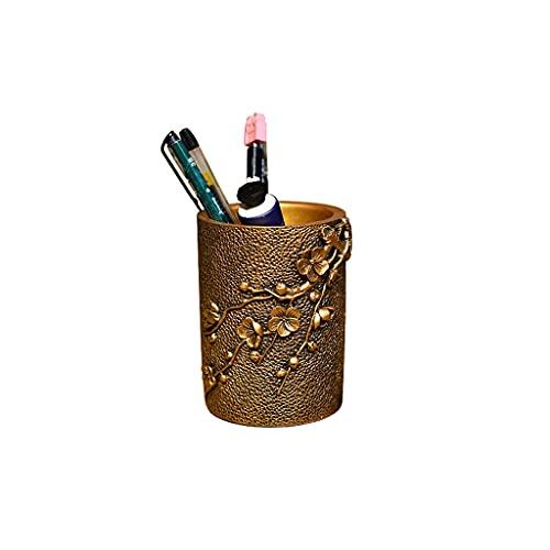 Decoraciones Soporte de bolígrafo retro creativo, resina plum flor artesanal artesanal portero de la pluma de escritorio, decoración de la oficina en el hogar regalo del estudiante Decoración de escri