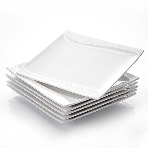 MALACASA, Serie Carina, 6 teilig Set Cremeweiß Porzellan Kuchenteller Dessertteller Frühstücksteller für 6 Personen