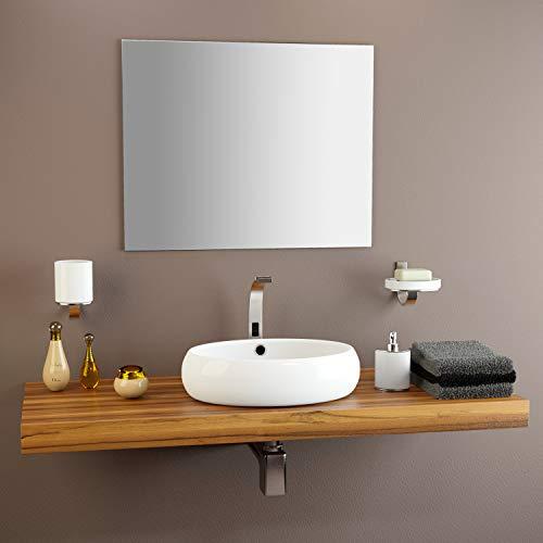 glasshop24 Badezimmer-Spiegel Wandspiegel Bad-Spiegel Silber | Spiegel ohne Rahmen, Spiegel zum Aufhängen mit Befestigungsset | Hochglanzpolierte Kanten | BxH 60x60 cm