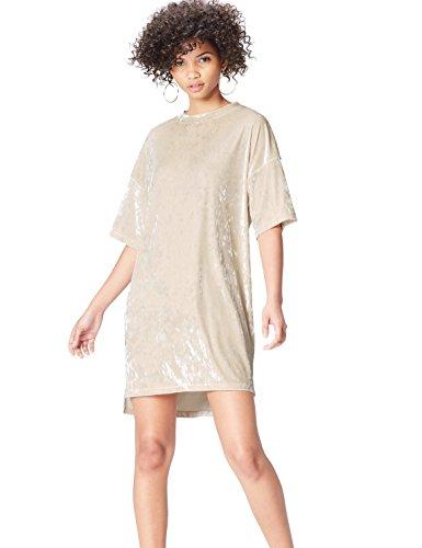 Amazon-Marke: find. Damen T-Shirt-Kleid aus Samt, Beige (Almond), 34, Label: XS