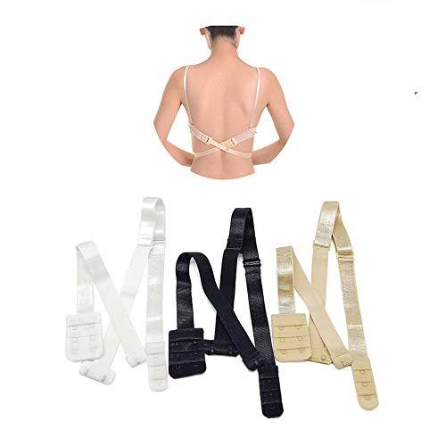 Rmeet Extensores de Sujetador,3 Pack Mujeres Convertidores de Sujetador con 1/2 Ganchos Ajustable Baja Tirantes de Sujetador Extensor para Sin Espalda Boda Vestido Negro Blanco Desnudo 1.9CM
