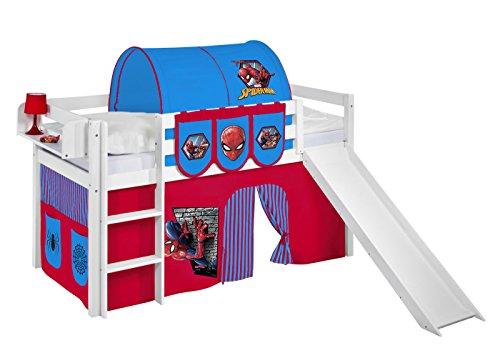 Lilokids Spielbett JELLE 90 x 190 cm Spiderman - Hochbett weiß - mit Rutsche und Vorhang