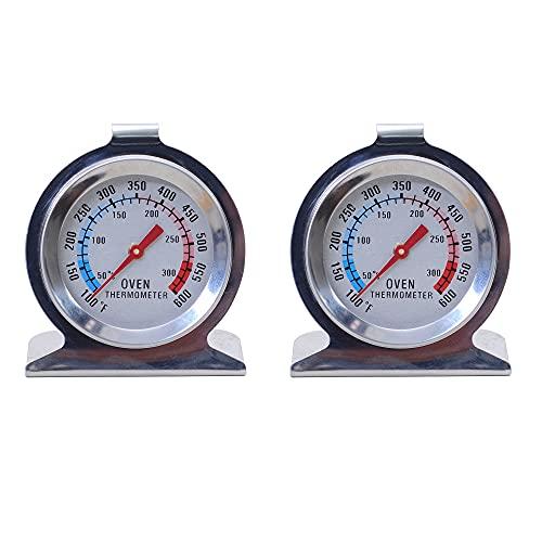 MUXIJIA 2 Piezas Termómetro de Horno con Doble Escala 50 a 300 °C / 100 a 600 °F de Acero Inoxidable Termómetro Horno para Horno de Gas, Horno Eléctrico, Barbacoa, Hornear, Cocinar y Parrilla
