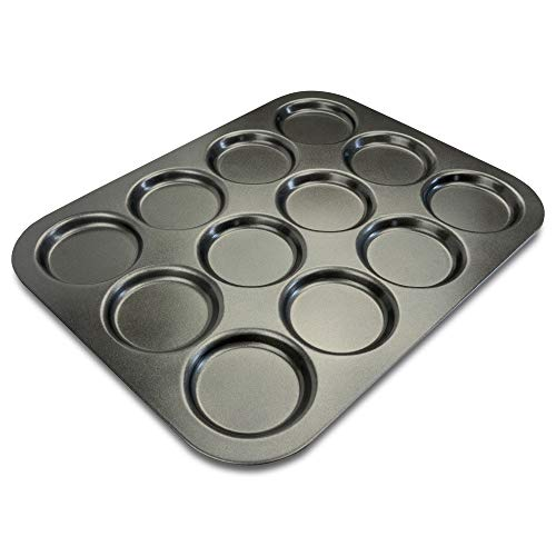 Muffin Top Pan by EXULTIMATE Professional Pansuffin Pan Non Stick 12 Cavity Baking Moon Pie Whoopie Pie, and also great as Hamburger Bun Pan