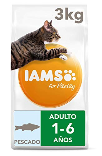 Iams for Vitality Cat Food with Ocean Fish for Adult Cats, 3 kg