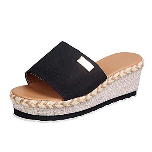 Zapatilla de Plataforma con cuña para Mujer Wedge Zapatos de Playa Zapatillas de Vestir Sandalias Bohemia Moda Casual Ocio de Ancho Ancho