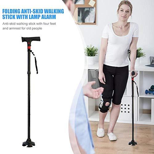 Slimme opvouwbare led-lamp klimstok veiligheid ouderling T-handvat wandelstok aluminium buis + ABS led-lamp wandelstok