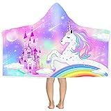 "Bonsai Tree Unicorn Hooded Beach Towel for Kids, Cute Rainbow Toddler Bath Towel with Hood for Girls, Pink Magic Castle Microfiber Super Absorbent Soft Poncho Bathrobe for Swin Pool 30""x50"""