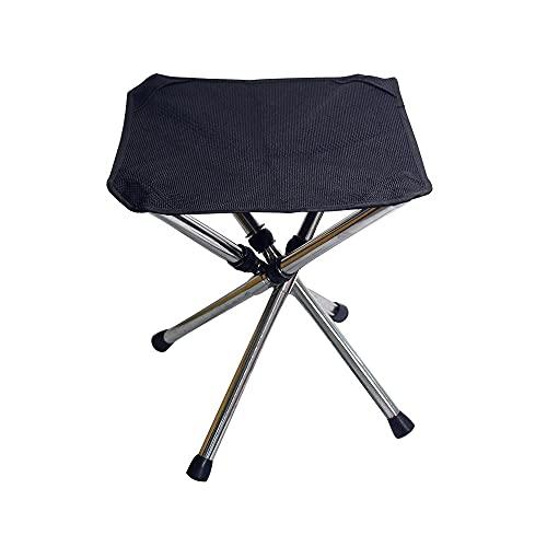 Taburete plegable portátil retráctil silla de camping de acero inoxidable plegable taburete Oxford tela asiento para pesca, senderismo, viajes, barbacoa, Negro, L