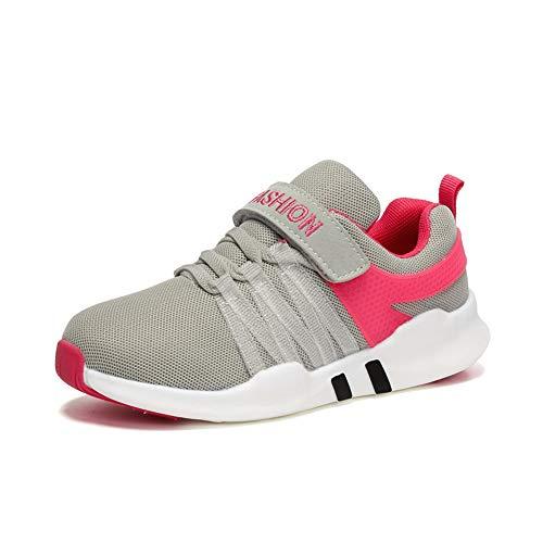 Unpowlink Kinder Schuhe Sportschuhe Ultraleicht Atmungsaktiv Turnschuhe Klettverschluss Low-Top Sneakers Laufen Schuhe Laufschuhe für Mädchen Jungen 28-37, 1823-rosa-a, 38 EU