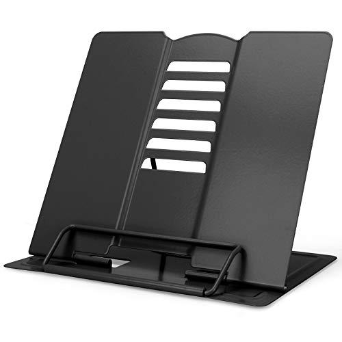 GUBOOM Atril para Libros, 6 ángulos Ajustable Soporte Libros, Metal Soporte para Libro de Cocina, iPad, Documentos, Libros de Música (Negro)