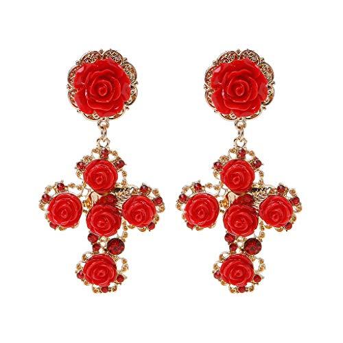 njuyd Fashion Trend Earrings Luxury Gothic Baroque Red Rose Gold Cross Drop Earrings Bridal Wedding Earrings