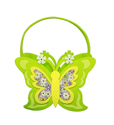HAAC - Cesta Decorativa de Fieltro (23 x 20 x 8 cm), diseño de Nido de Pascua con Mariposas y Flores
