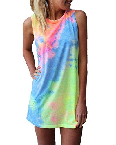 ZANZEA Women's Sleeveless T Shirt Dress Tie-dye Round Neck Rainbow Tank Mini Dress Colorful US 6