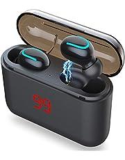 AICase Osynliga Tws trådlösa brusreducerande öronsnäckor med 1 500 mAh laddningsfodral mini in-ear headset sport stereo hörlurar bluetooth 5.0 öronproppar, vattentätt/standbytid: 120 h (svart-1)