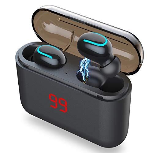 AICase Auricolari Bluetooth Senza Fili TWS 5.0 con LCD e Custodia Ricarica1500mAhCuffie Wirless48 Oredi Riproduzione, Auricolari in Ear Hi-Fi Stereo con bassi profondi per sport