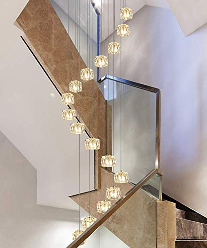 Modern Staircase Spiral Long Chandelier Villa Simple Creative Spiral Chandelier for High Ceiling Pendant Light for Living Room Duplex Building Hollow Chandelier Square glass block lampshape 50x200cm