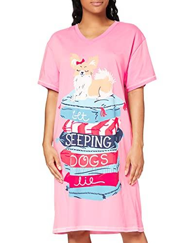 Hatley Damen Sleepshirt Nachthemd, Lassen Sie schlafende Hunde Kissen, Einheitsgröße