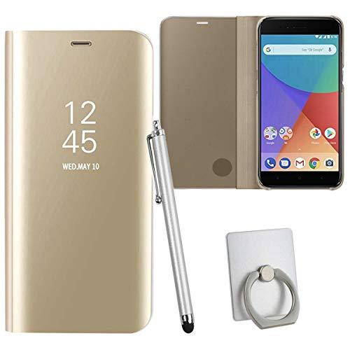 Sangrl Funda para Xiaomi Mi A1, Ultra Delgada Shock Caja Espejo Espejo Translúcido Case Funda para Xiaomi Mi 5X - Gold