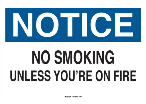 Brady 38065 Plastic Funny Sign, 7' X 10', Legend 'No Smoking Unless You're On Fire'