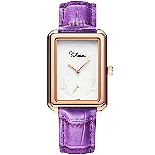 Reloj de pulsera de cuero genuino para mujer, esfera pequeña, elegante, Esfera morada y blanca,